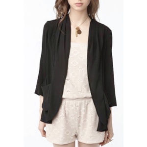 Urban Outfitters Black Crepe Open Front Blazer